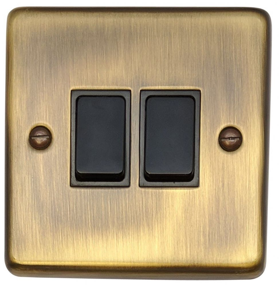G&H CAB2B Standard Plate Antique Bronze 2 Gang 1 or 2 Way Rocker Light Switch